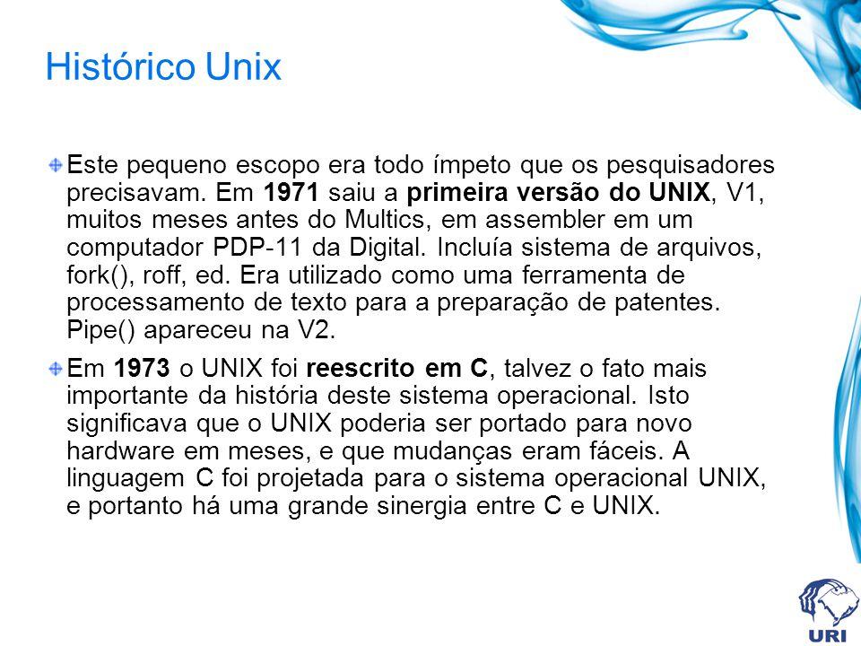 Histórico Unix Este pequeno escopo era todo ímpeto que os pesquisadores precisavam. Em 1971 saiu a primeira versão do UNIX, V1, muitos meses antes do