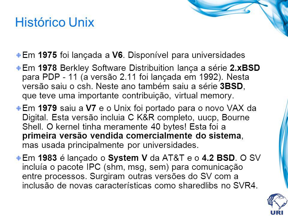 Histórico Unix Em 1975 foi lançada a V6. Disponível para universidades Em 1978 Berkley Software Distribuition lança a série 2.xBSD para PDP - 11 (a ve