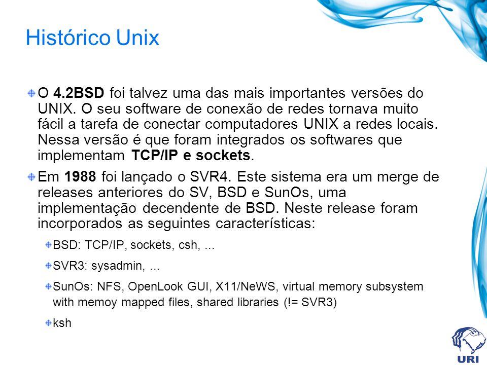 Histórico Unix O 4.2BSD foi talvez uma das mais importantes versões do UNIX. O seu software de conexão de redes tornava muito fácil a tarefa de conect