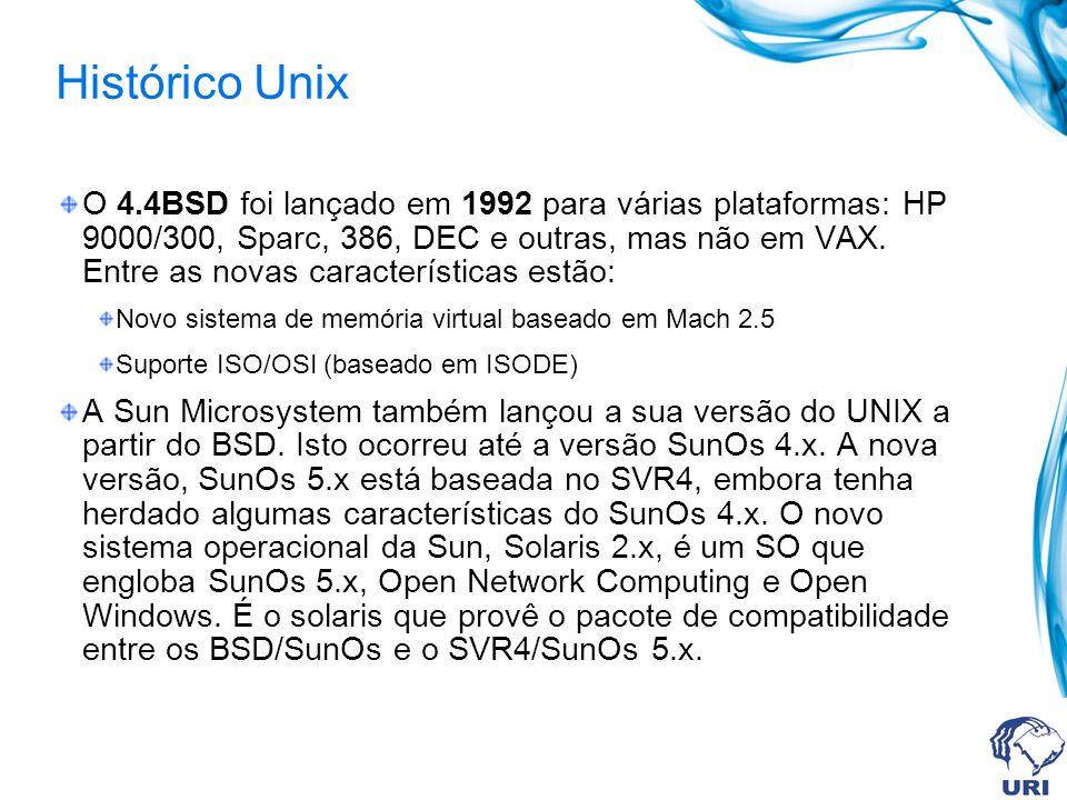 Histórico Unix O 4.4BSD foi lançado em 1992 para várias plataformas: HP 9000/300, Sparc, 386, DEC e outras, mas não em VAX. Entre as novas característ