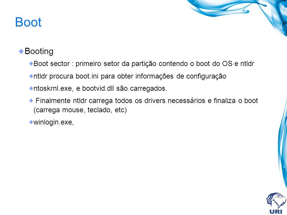 Boot Booting Boot sector : primeiro setor da parti ç ão contendo o boot do OS e ntldr ntldr procura boot.ini para obter informa ç ões de configura ç ã