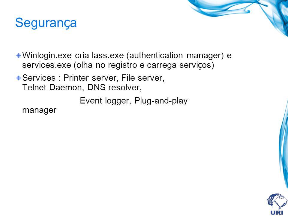 Seguran ç a Winlogin.exe cria lass.exe (authentication manager) e services.exe (olha no registro e carrega servi ç os) Services : Printer server, File