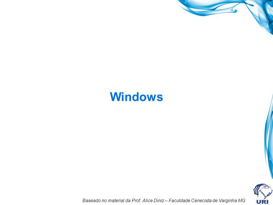 Windows Baseado no material da Prof. Alice Diniz – Faculdade Cenecista de Varginha MG