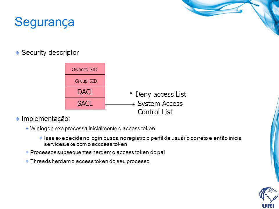Seguran ç a Security descriptor Implementa ç ão: Winlogon.exe processa inicialmente o access token lass.exe decide no login busca no registro o perfil