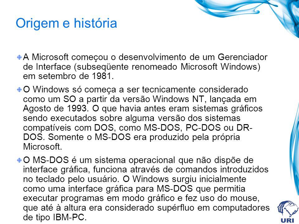 Origem e história A Microsoft começou o desenvolvimento de um Gerenciador de Interface (subseqüente renomeado Microsoft Windows) em setembro de 1981.