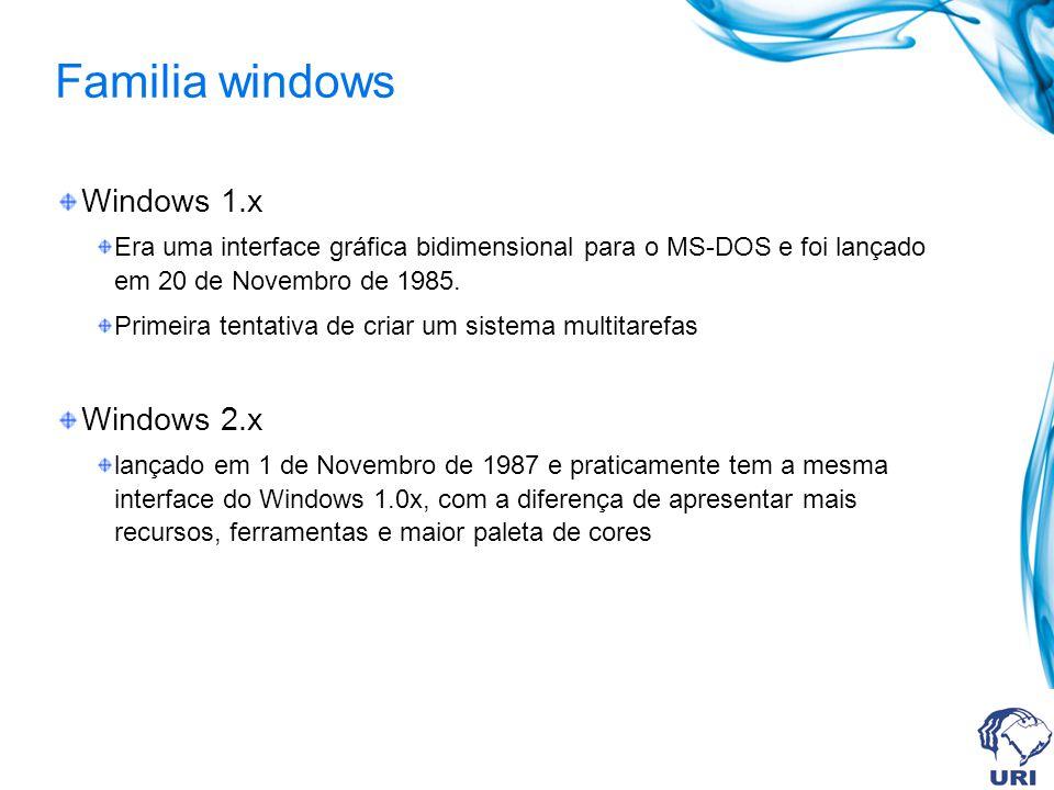 Familia windows Windows 3.x Foi o primeiro sucesso amplo da Microsoft e foi lançado em 22 de Maio de 1990 Era um sistema gráfico de 16 bits, mas ainda precisava ativar primeiro o MS-DOS para ativar o Windows.