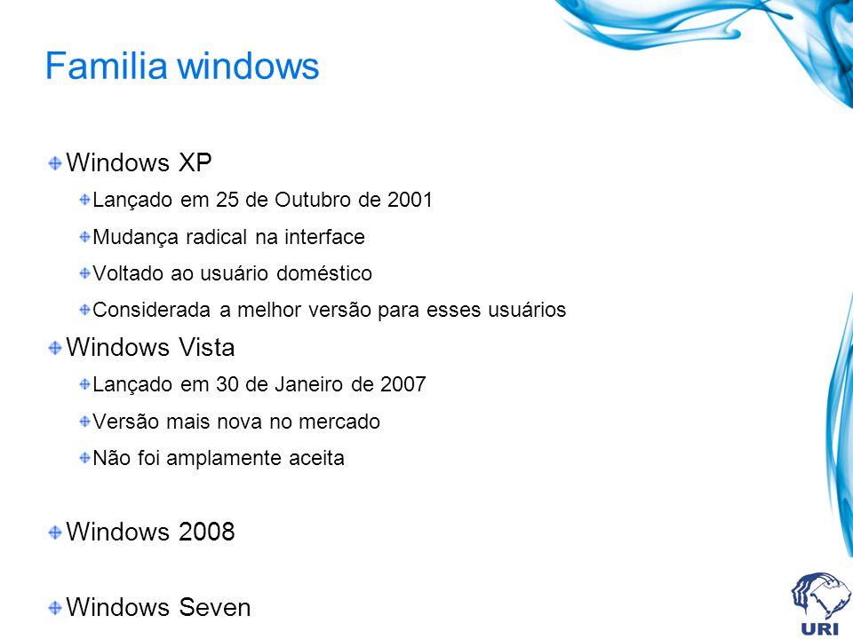 Familia windows Windows XP Lançado em 25 de Outubro de 2001 Mudança radical na interface Voltado ao usuário doméstico Considerada a melhor versão para