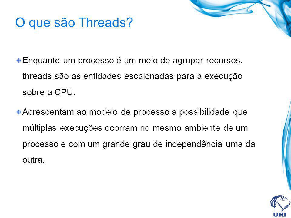 O que são Threads? Enquanto um processo é um meio de agrupar recursos, threads são as entidades escalonadas para a execução sobre a CPU. Acrescentam a