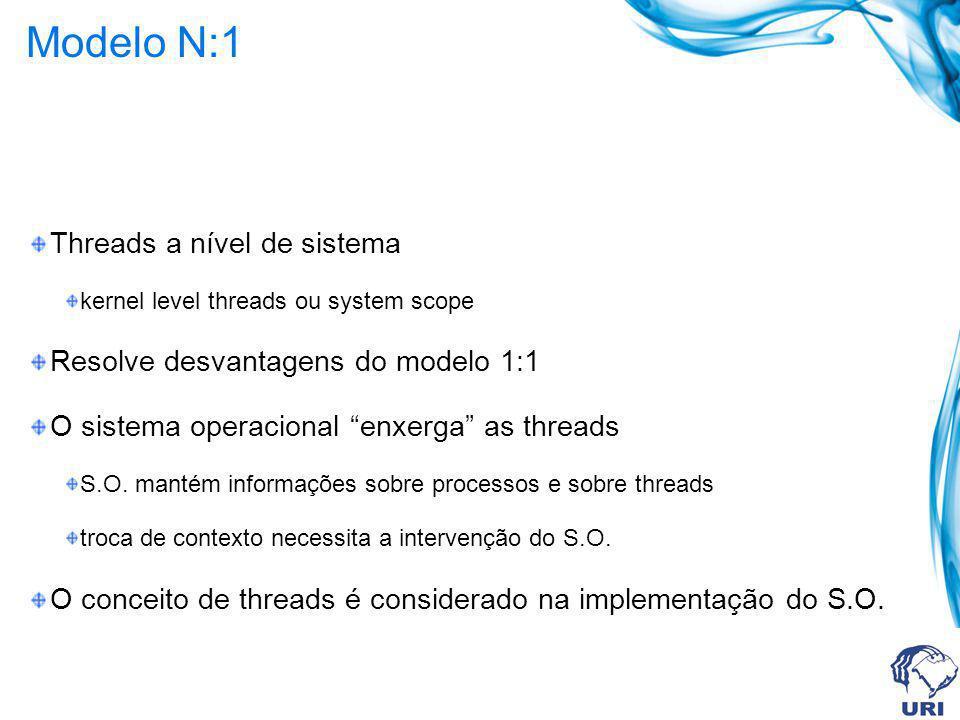 Modelo N:1 Threads a nível de sistema kernel level threads ou system scope Resolve desvantagens do modelo 1:1 O sistema operacional enxerga as threads