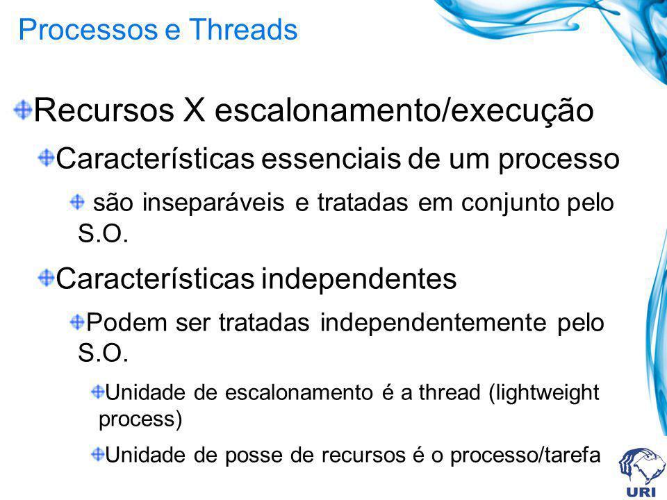 Processos e Threads Recursos X escalonamento/execução Características essenciais de um processo são inseparáveis e tratadas em conjunto pelo S.O. Cara