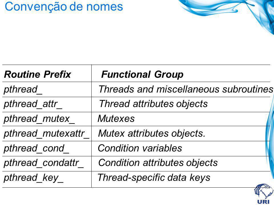 Convenção de nomes Routine Prefix Functional Group pthread_ Threads and miscellaneous subroutines pthread_attr_ Thread attributes objects pthread_mute