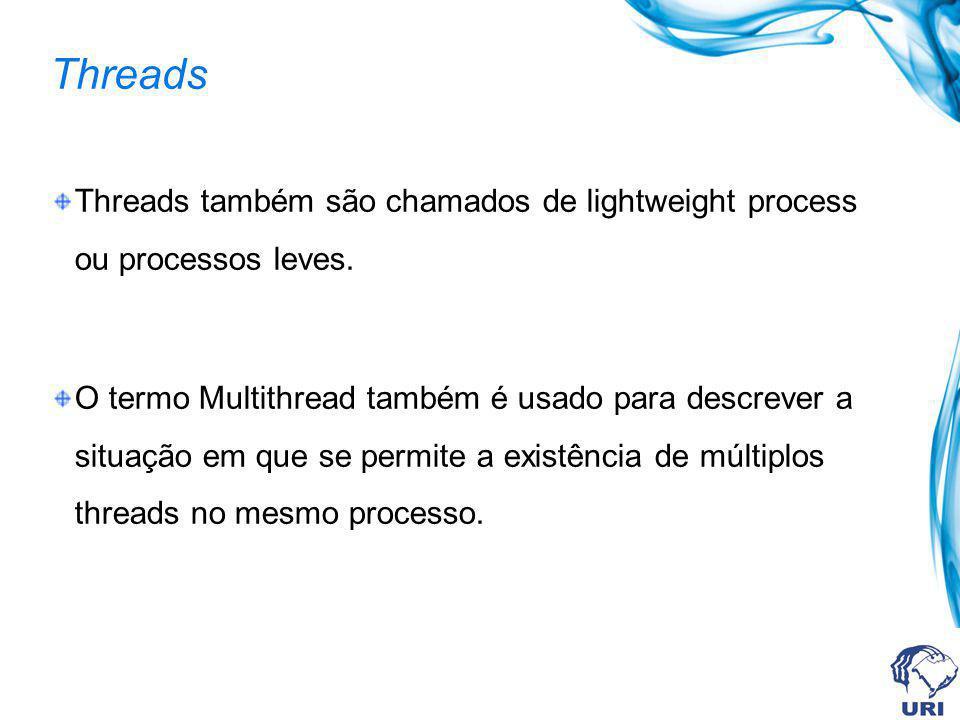 Threads Threads também são chamados de lightweight process ou processos leves. O termo Multithread também é usado para descrever a situação em que se