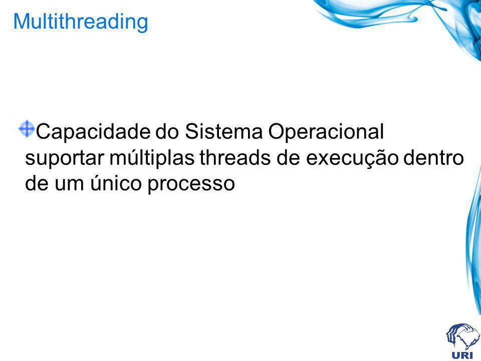Multithreading Capacidade do Sistema Operacional suportar múltiplas threads de execução dentro de um único processo
