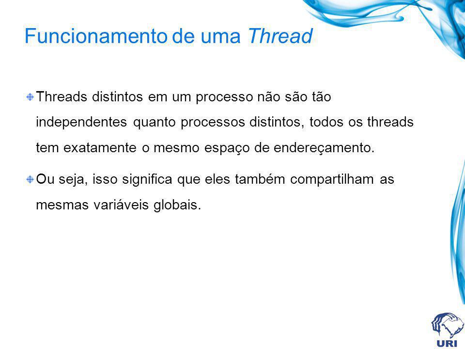 Funcionamento de uma Thread Threads distintos em um processo não são tão independentes quanto processos distintos, todos os threads tem exatamente o m
