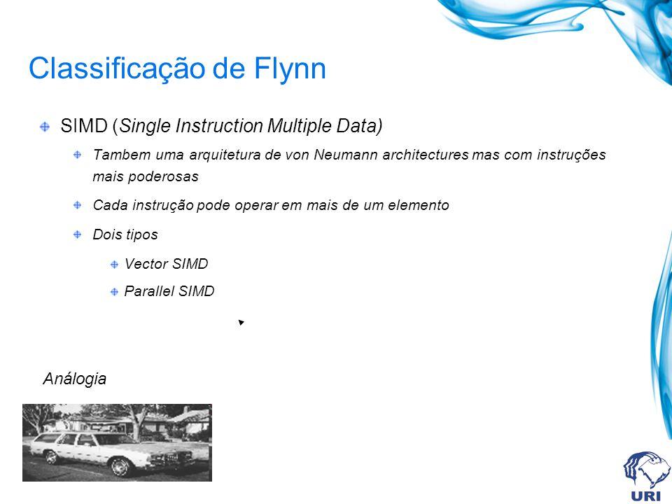 Classificação de Flynn Vector SIMD Uma instrução resulta em multiplas operações de atualização Processamento escalar acontece em elementos de dados simples Examplos: Cray 1 NEC SX-2 Fujitsu VP Hitachi S820
