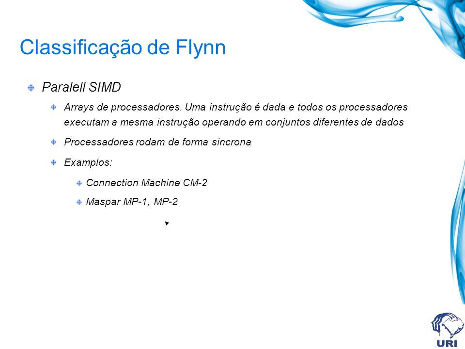 Classificação de Flynn Paralell SIMD Arrays de processadores. Uma instrução é dada e todos os processadores executam a mesma instrução operando em con