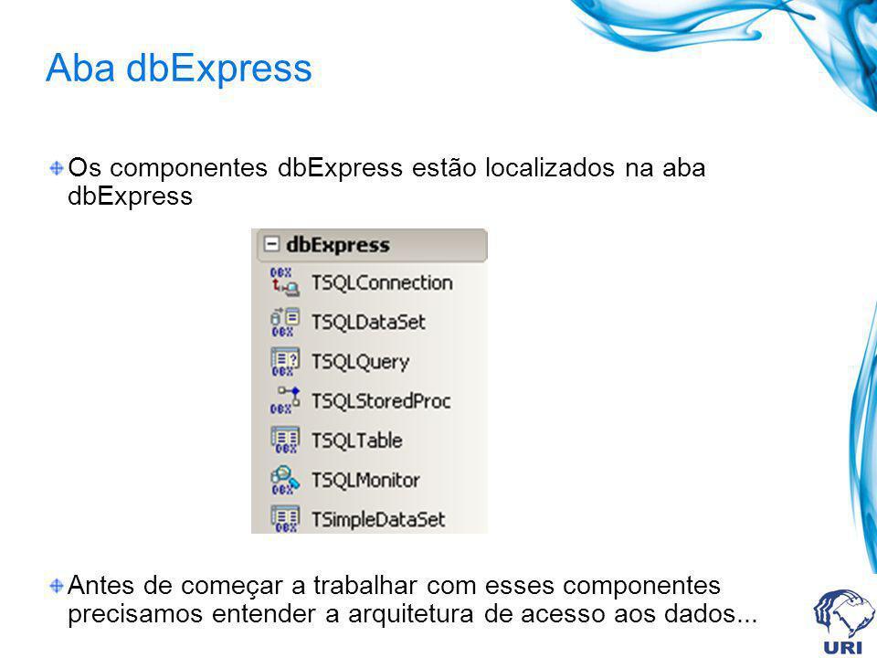Aba dbExpress Os componentes dbExpress estão localizados na aba dbExpress Antes de começar a trabalhar com esses componentes precisamos entender a arq