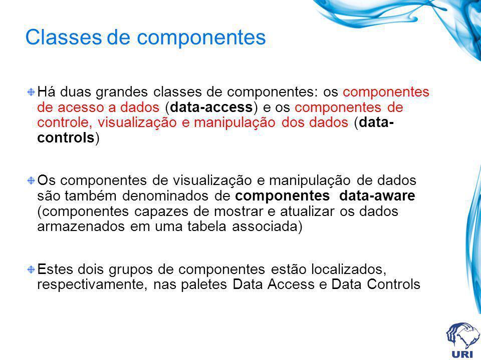 Classes de componentes Há duas grandes classes de componentes: os componentes de acesso a dados (data-access) e os componentes de controle, visualizaç