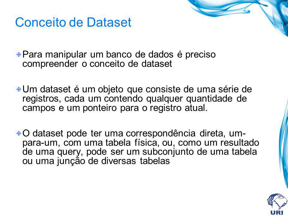Conceito de Dataset Para manipular um banco de dados é preciso compreender o conceito de dataset Um dataset é um objeto que consiste de uma série de r