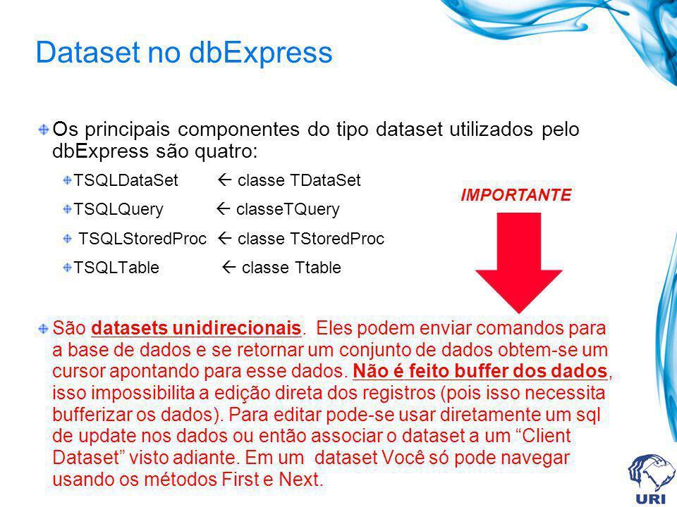 Dataset no dbExpress Os principais componentes do tipo dataset utilizados pelo dbExpress são quatro: TSQLDataSet classe TDataSet TSQLQuery classeTQuer