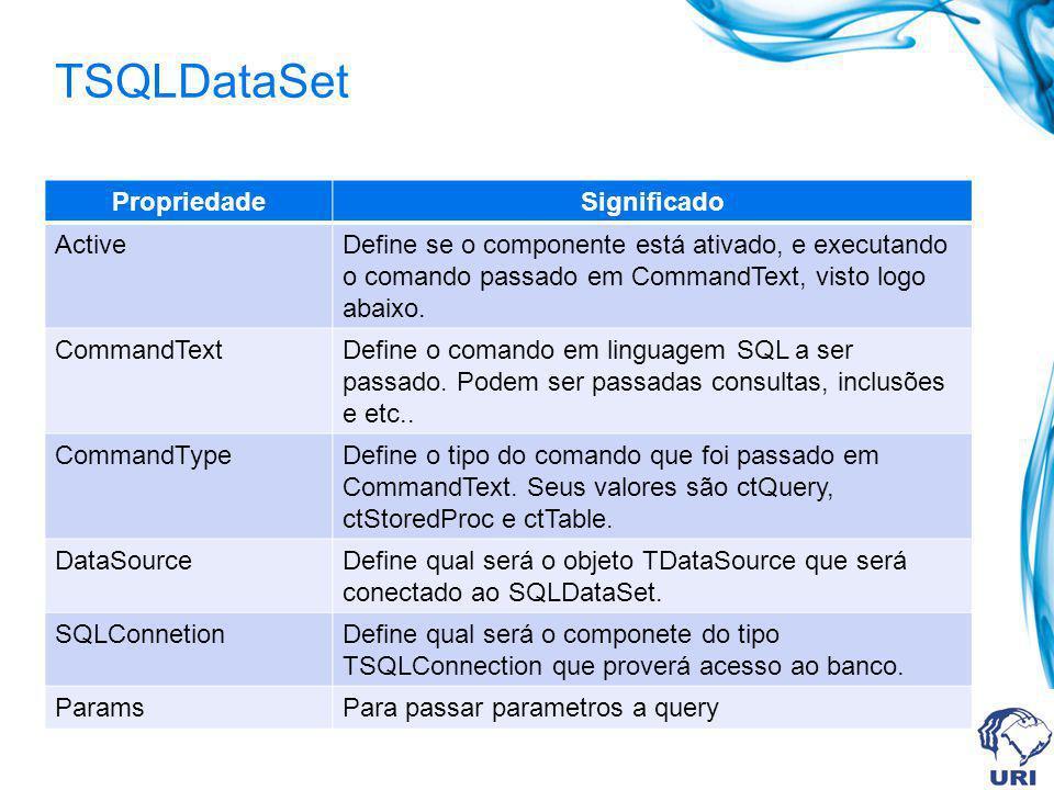TSQLDataSet PropriedadeSignificado ActiveDefine se o componente está ativado, e executando o comando passado em CommandText, visto logo abaixo. Comman