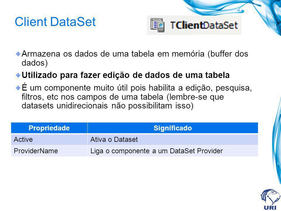 Client DataSet Armazena os dados de uma tabela em memória (buffer dos dados) Utilizado para fazer edição de dados de uma tabela É um componente muito