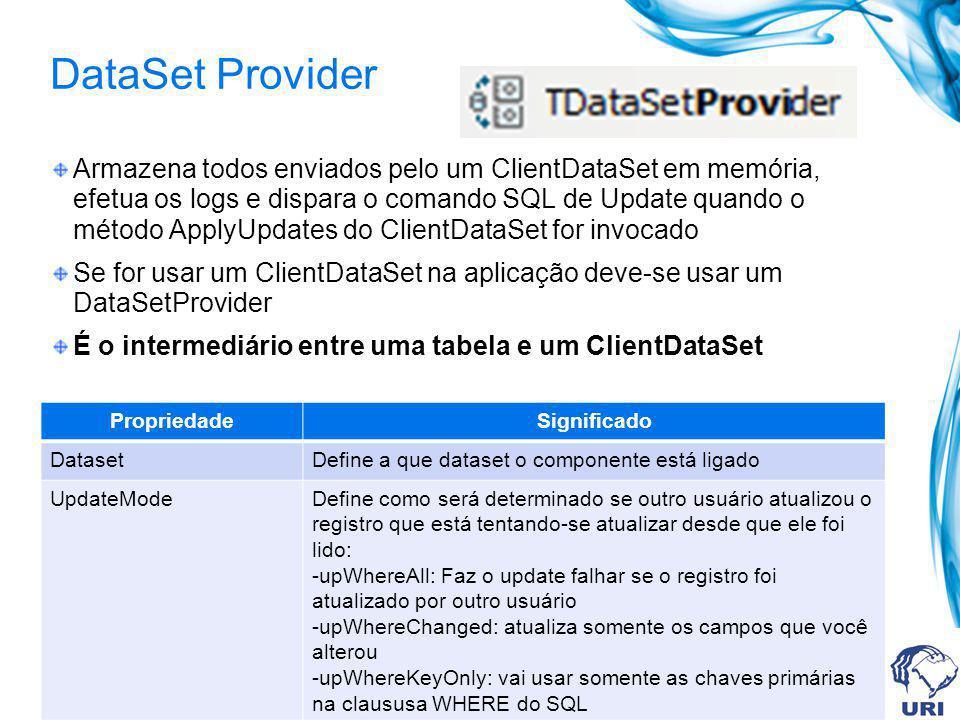 DataSet Provider Armazena todos enviados pelo um ClientDataSet em memória, efetua os logs e dispara o comando SQL de Update quando o método ApplyUpdat