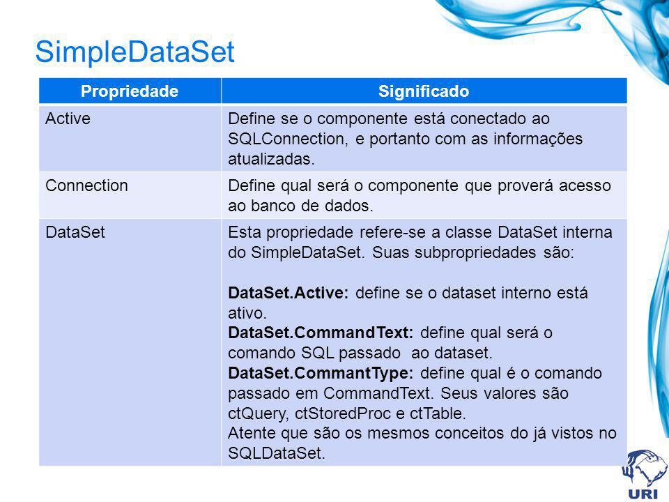 SimpleDataSet PropriedadeSignificado ActiveDefine se o componente está conectado ao SQLConnection, e portanto com as informações atualizadas. Connecti