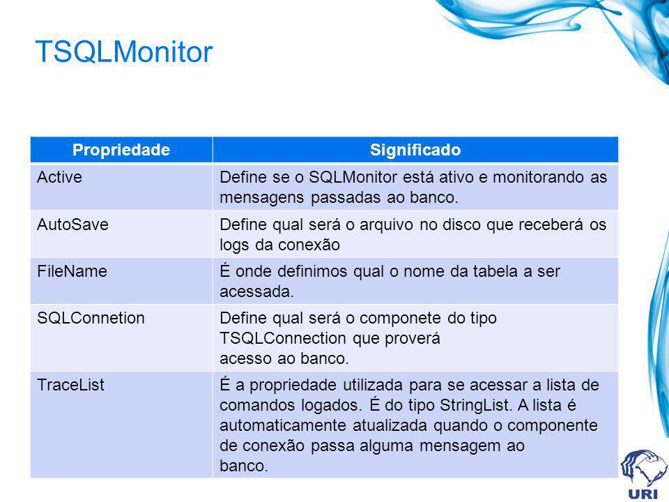 TSQLMonitor PropriedadeSignificado ActiveDefine se o SQLMonitor está ativo e monitorando as mensagens passadas ao banco. AutoSaveDefine qual será o ar