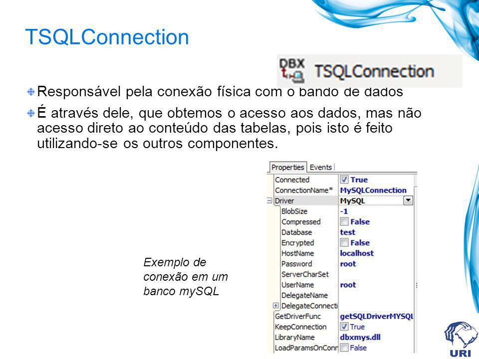 TSQLConnection Responsável pela conexão física com o bando de dados É através dele, que obtemos o acesso aos dados, mas não acesso direto ao conteúdo