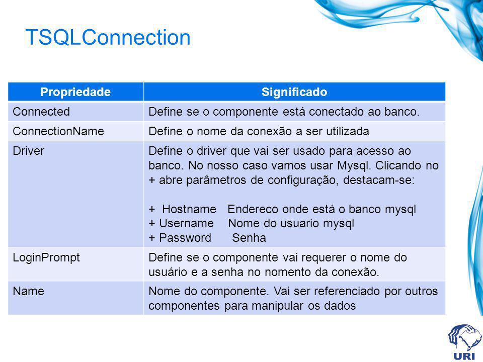 TSQLConnection PropriedadeSignificado ConnectedDefine se o componente está conectado ao banco. ConnectionNameDefine o nome da conexão a ser utilizada
