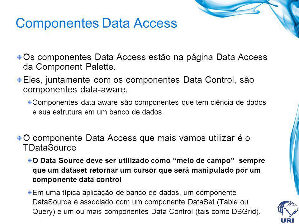 Componentes Data Access Os componentes Data Access estão na página Data Access da Component Palette. Eles, juntamente com os componentes Data Control,
