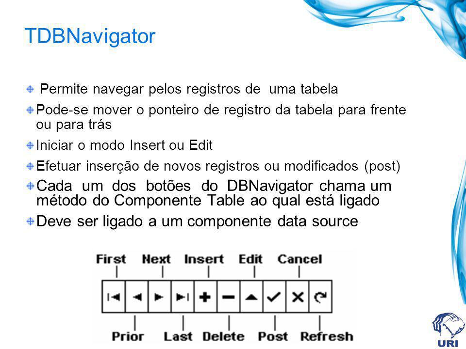 TDBNavigator Permite navegar pelos registros de uma tabela Pode-se mover o ponteiro de registro da tabela para frente ou para trás Iniciar o modo Inse