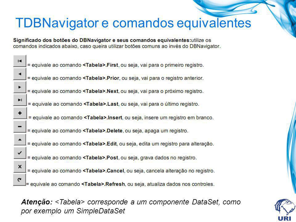 TDBNavigator e comandos equivalentes Atenção: corresponde a um componente DataSet, como por exemplo um SimpleDataSet