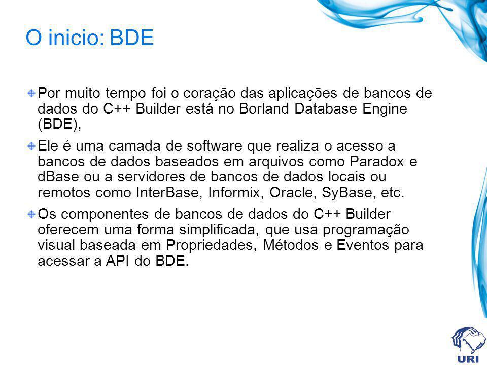 O inicio: BDE Por muito tempo foi o coração das aplicações de bancos de dados do C++ Builder está no Borland Database Engine (BDE), Ele é uma camada d