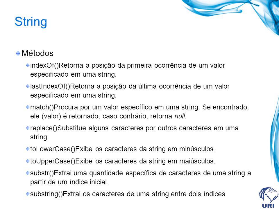 String Métodos indexOf()Retorna a posição da primeira ocorrência de um valor especificado em uma string.