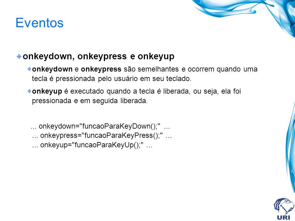 Eventos onkeydown, onkeypress e onkeyup onkeydown e onkeypress são semelhantes e ocorrem quando uma tecla é pressionada pelo usuário em seu teclado.