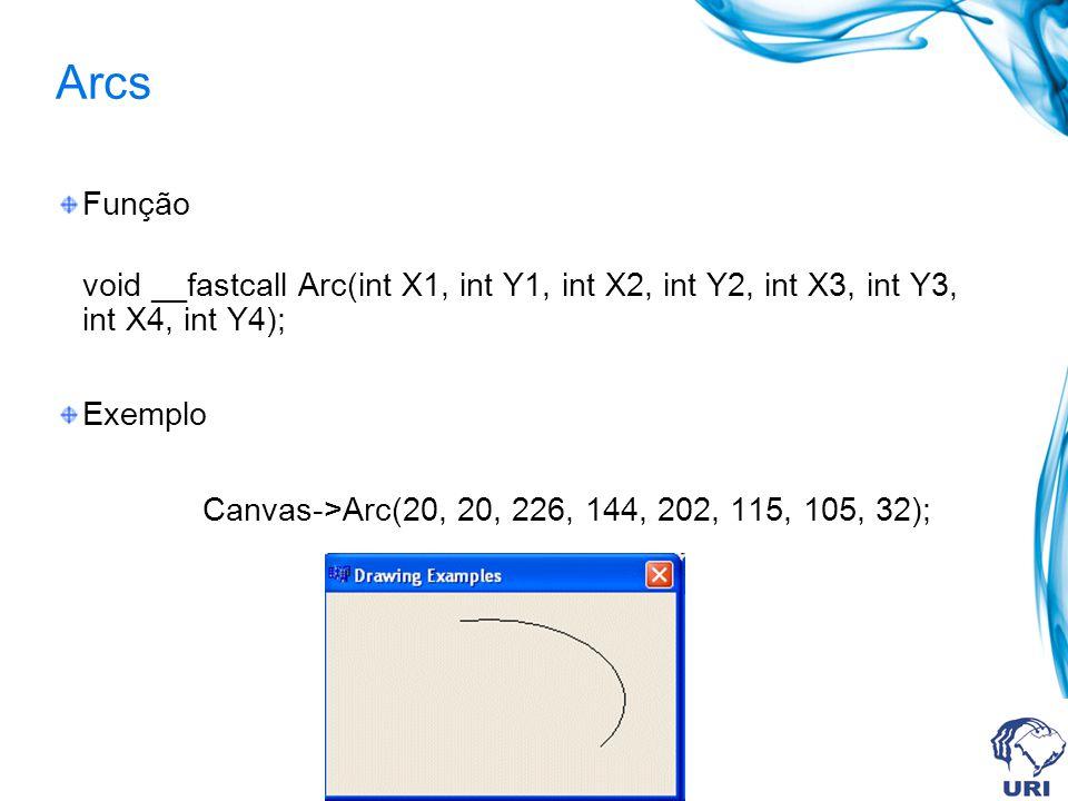 Arcs Função void __fastcall Arc(int X1, int Y1, int X2, int Y2, int X3, int Y3, int X4, int Y4); Exemplo Canvas->Arc(20, 20, 226, 144, 202, 115, 105, 32);