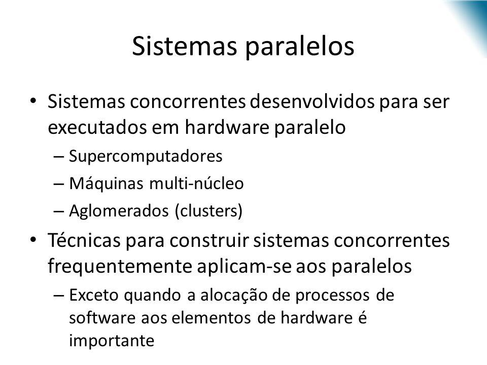 Sistemas paralelos Sistemas concorrentes desenvolvidos para ser executados em hardware paralelo – Supercomputadores – Máquinas multi-núcleo – Aglomera