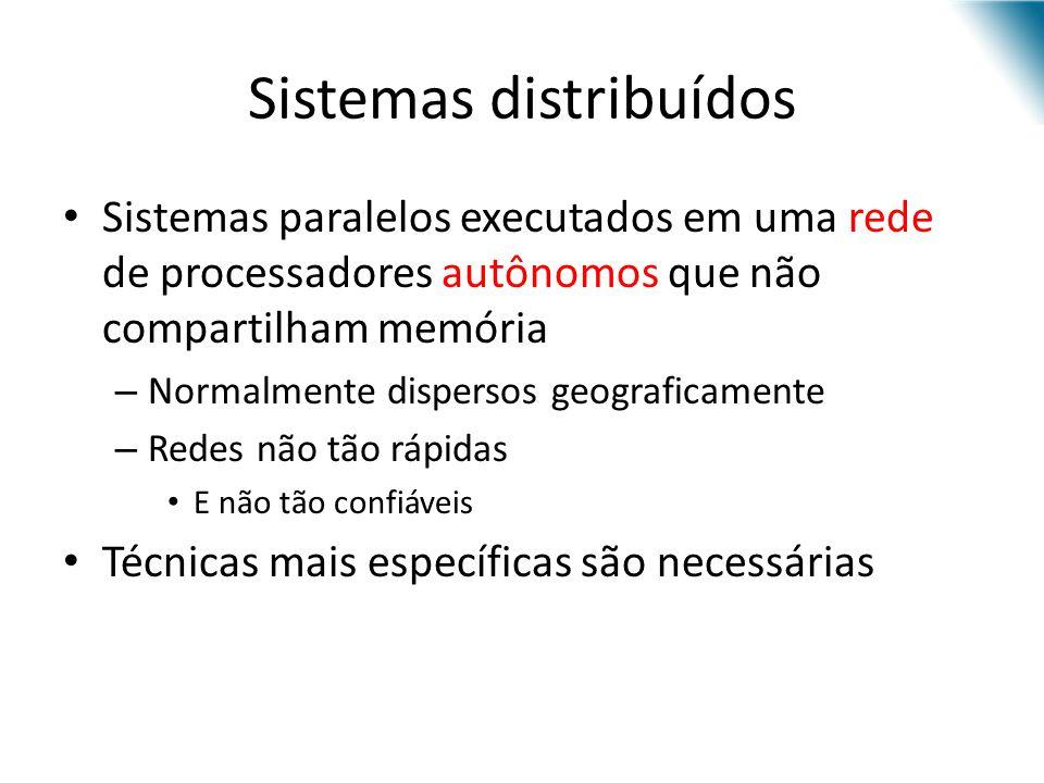 Sistemas distribuídos Sistemas paralelos executados em uma rede de processadores autônomos que não compartilham memória – Normalmente dispersos geogra