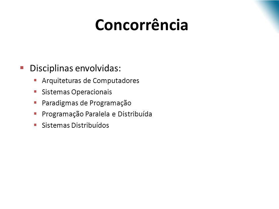 Concorrência Disciplinas envolvidas: Arquiteturas de Computadores Sistemas Operacionais Paradigmas de Programação Programação Paralela e Distribuída S