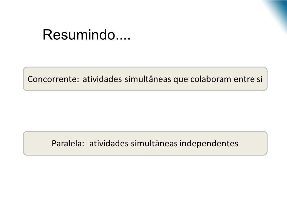 Concorrente: atividades simultâneas que colaboram entre si Paralela: atividades simultâneas independentes Resumindo....