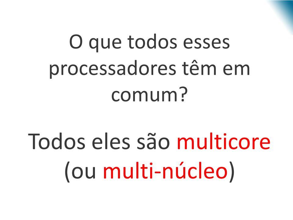 Processadores multi-núcleo Incluem vários núcleos em uma única pastilha – Número de instruções simultâneas = número de núcleos Cache compatilhada ou não Memória compartilhada ou passagem de mensagens
