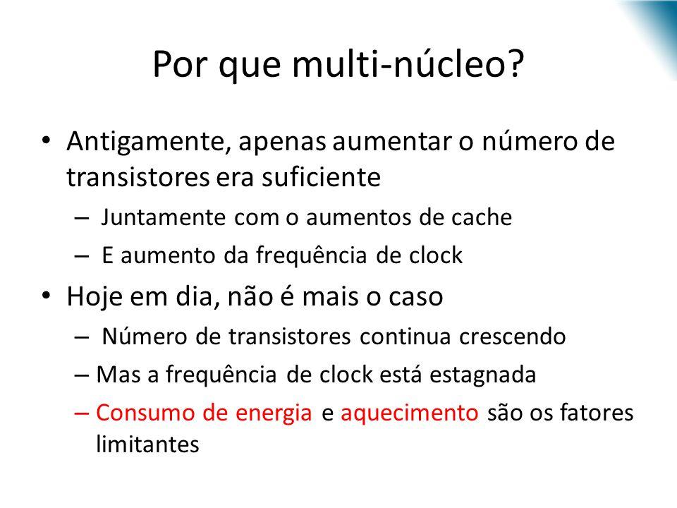 Por que multi-núcleo? Antigamente, apenas aumentar o número de transistores era suficiente – Juntamente com o aumentos de cache – E aumento da frequên