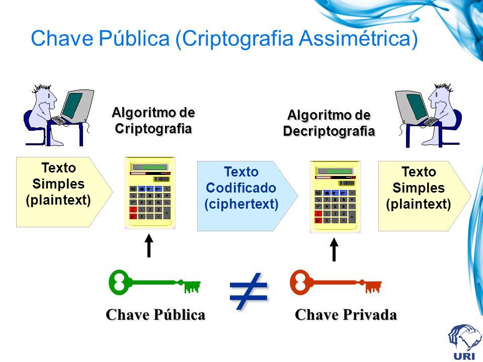 Chave Pública = CRIPTOGRAFIA ASSIMÉTRICA Sistema de Criptografia Assimétrico Utiliza um par de chaves. Uma chave publica para criptografar a mensagem.
