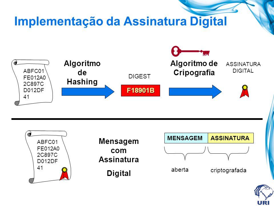 Assinatura Digital com Chave Pública Permite ao receptor verificar a integridade da mensagem: O conteúdo não foi alterado durante a transmissão. O tra