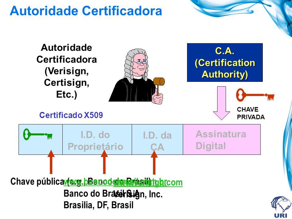 Verificação da Integridade da Mensagem Transmissor (A) Receptor (B) MENSAGEM ASSINATURA DIGITAL CHAVE PRIVADA DE A CHAVE PÚBLICA DE A O receptor preci