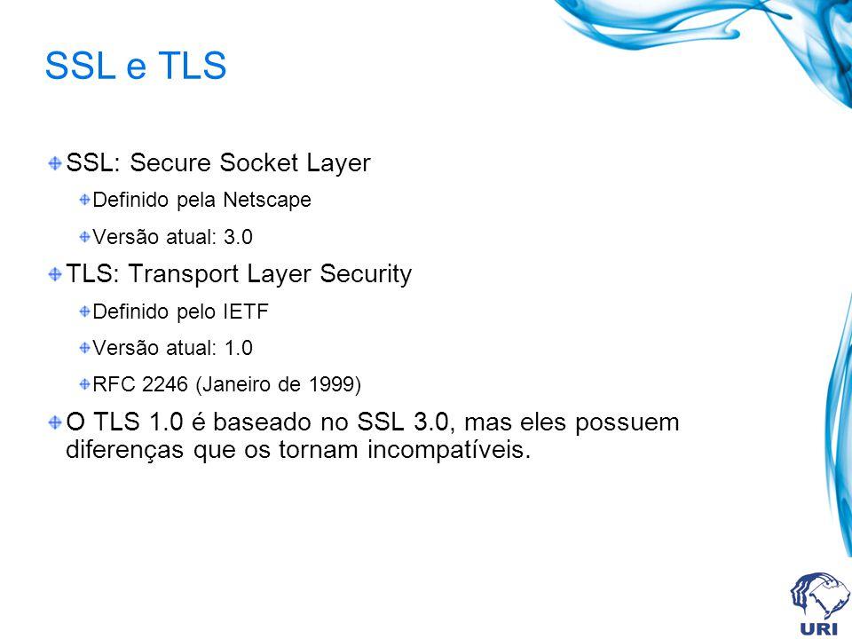 Exemplo: HTTPS CLIENTE SERVIDOR SOCKS SSL >1023 SOCKS SSL 443 80 HTTP HTTPS Recurso Não Protegido Recurso Protegido X