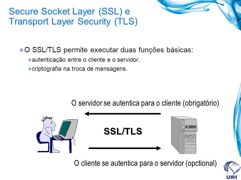 TLS Os objetivos do TLS são: Segurança criptográfica entre dois pontos. Interoperabilidade Fabricantes diferentes Extensibilidade Novos algorítmos de