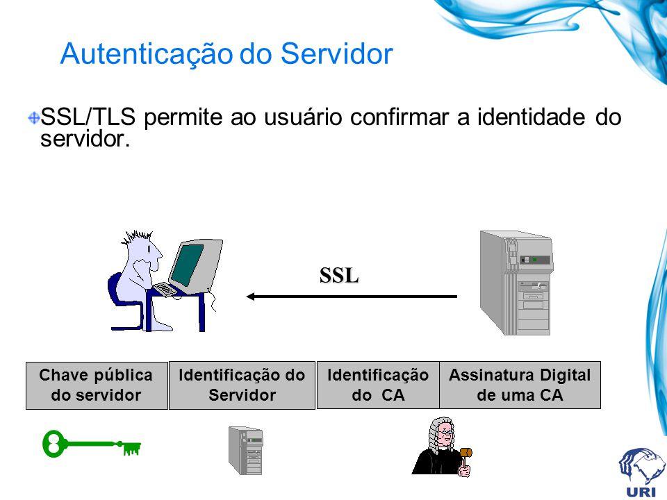 Secure Socket Layer (SSL) e Transport Layer Security (TLS) O SSL/TLS permite executar duas funções básicas: autenticação entre o cliente e o servidor.